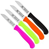 Gemüsemesser Solingen Germany   Obstmesser Glattschliff   BPA-frei Küchenmesser   sehr scharf   Gerade Klinge   rostfrei   Messerset Schälmesser (Bunt, 4)