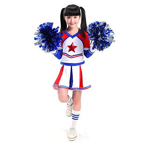 G-Kids Mädchen Jungen Cheerleader Kostüm Cheerleading Uniform Kinder Karneval Weihnachten Fasching Party Halloween Kostüm Jazz Bekleidung mit 2 Pompoms Socken (Mädchen, 140cm)