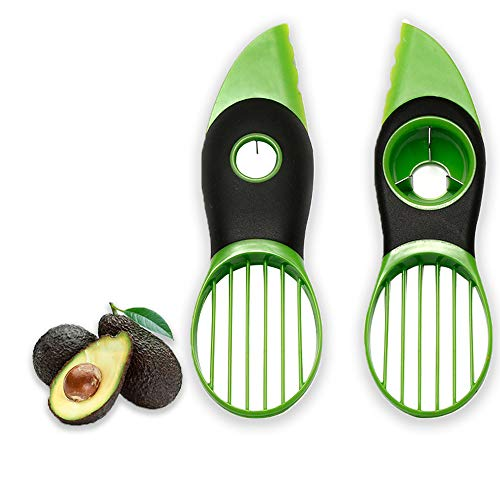 Avocado Slicer - 3-in-1 Avocado Cutter Tool met Comfort-Grip Handvat BPA Gratis Multifunctionele Avocado Mes Werken, Cutter, Slicer, Masher, Pitter, Peeler voor Kiwi Dragon Fruit, Groen