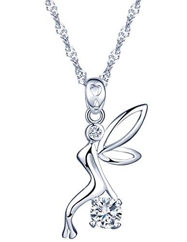 Yumilok, collana con ciondolo a forma di fata/elfo/angelo, in argento Sterling 925, con zirconi, unica nel suo genere, per donne e ragazze