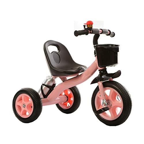 HKX Triciclo, Marco Grueso, Triciclo multifunción portátil con portabidón, Triciclo para Exteriores para bebés de 2 a 6 años, 2 Colores, 71x58x38cm (Color: Rosa)
