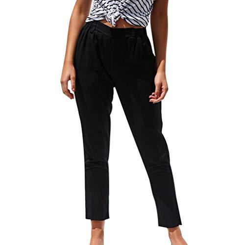 WOZOW Damen Trousers Solid Straight Leg Elastisch Elastic Pleasted Bettwäsche Baumwolle Soft Bequem Casual High Waist Slim Lang Long Ankle Crop Trouser (L,Schwarz)