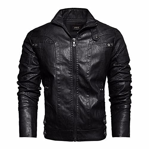 TTFC Chaqueta Casual De Piel Sintética para Hombre Chaqueta De Corredor Chaqueta De Moto De Cuero Lavado para Hombre Black-L