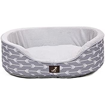 AllPetSolutions Bella Collection of Warm Dog Bed with Reversible Cushion Washable (Large - 80x62x20.5cm, Grey)