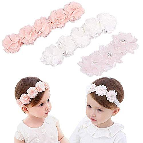 3 Stück Ripsband für Kleine Mädchen,Baby Mädchen Kids Turban,Kopfband Baby Schmuck Blumen,Kids Turban Haarband Stirnband,Blumen-Stirnband Kleine Mädchen,Blumen Haarband Kinder