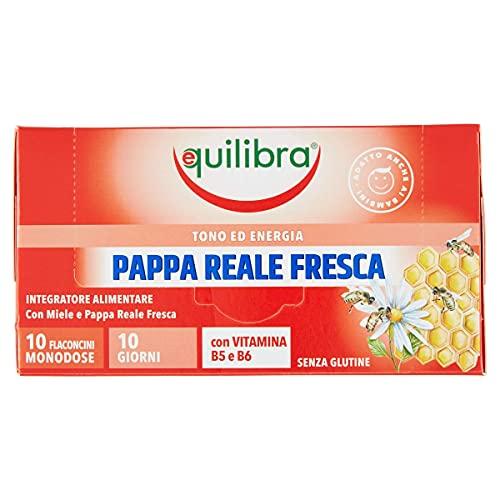 Equilibra Integratori Alimentari, Pappa Reale Fresca, Integratore per Riduzione Stanchezza e Affaticamento, con Miele, Vitamina B5 e Vitamina B6, 10 Flaconcini Monodose