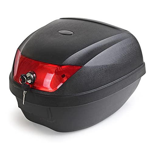 Baúl para moto Top Case 36l negro mate con placa de montaje, maleta cofre scooter quad portacascos