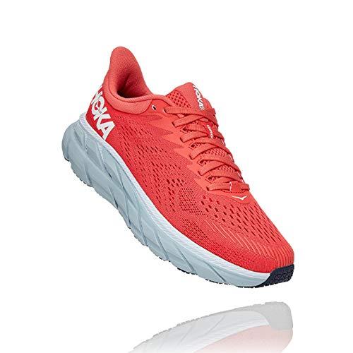 Hoka One One Zapatillas De Correr Clifton 7 Para Mujer, Rojo (Blanco, Coral, (Hot Coral/White)), 39...