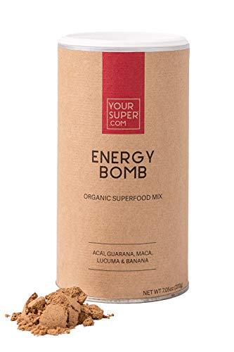 Mix Energy Bomb Your Super : Mix en poudre de super-aliments végétaux, une alternative naturelle au café et boissons énergétiques, ingrédients biologiques : açaï, guarana, maca, lucuma - 40 portions