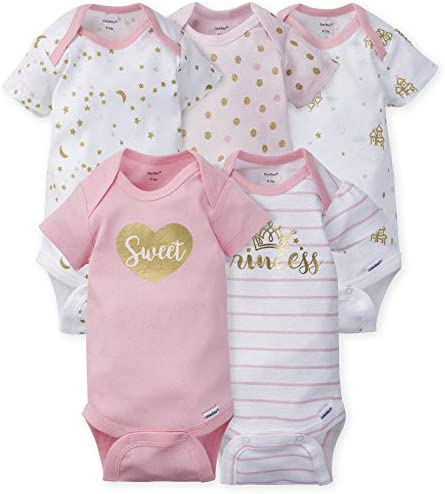 GERBER Baby Girls 5 Pack Variety Onesies Bodysuits Princess Arrival Newborn product image