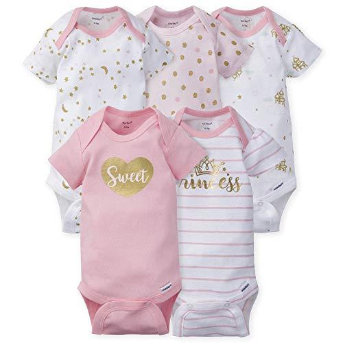 GERBER Baby Girls 5-Pack Variety Onesies Bodysuits, Princess Arrival, 3-6 Months