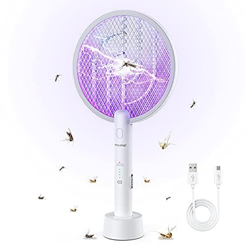 PALONE Elektrische Fliegenklatsche 2021 Aufgerüstet Insektenvernichter, 3000V Elektro Mückenklatsche und UV Mückenlampe 2 in 1, Tragbarer Wiederaufladbarer USB, für Indoor Outdoor Küche Gärten Camping
