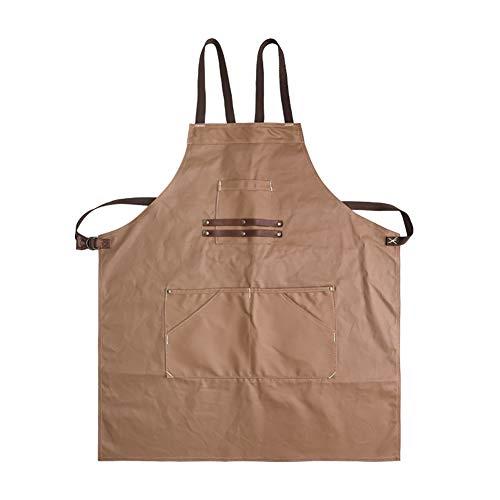 Herramienta delantal, artesano retro lona delantal impermeable multi-herramienta de cuero bolsillo correa...
