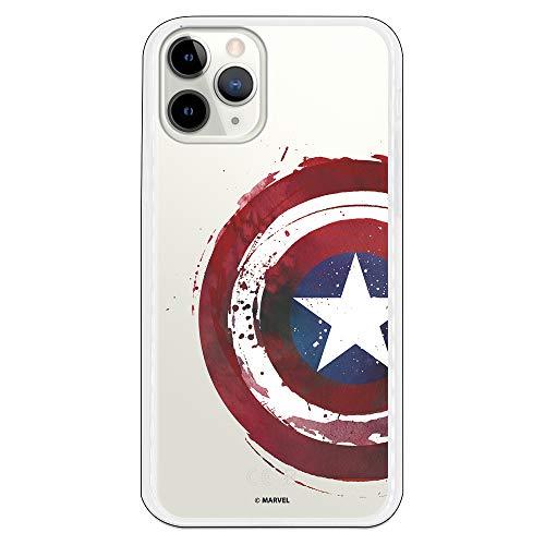 Funda para iPhone 11 Pro Oficial de Marvel Capitán América Escudo Transparente para Proteger tu móvil. Carcasa para Apple de Silicona Flexible con Licencia Oficial de Marvel.