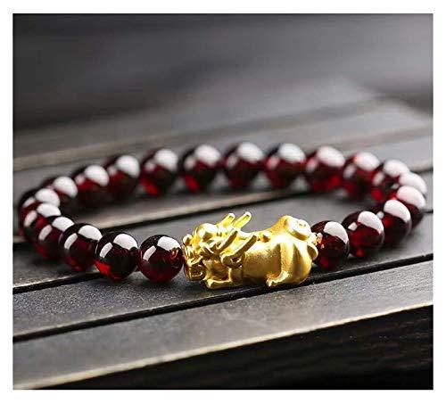 Plztou Granat Pixiu Armband Feng Shui Wealth Armband 3D Gold Pixiu/Piyao Natural Edelstein Amulett Heilung Chakra Kristall Glücklicher Charme Liebe Armreif Schmuck Geschenk für Frauen/Mädchen