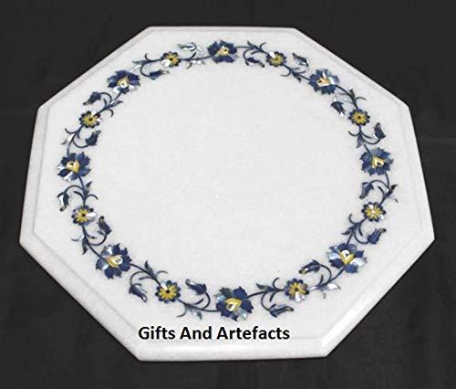 Cadeaus en artefacten Octagon marmer bed bijzettafel salontafel met Lapis Lazuli edelstenen ingelegde werk ambachten gemaakt van India, 12 inch
