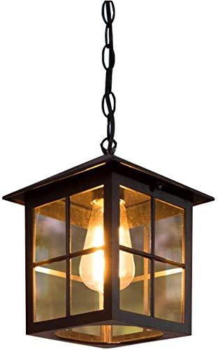 Retro Schwarz Außen Pendellampe Wasserdichter IP54 E27 Höhenverstellbar Hängelampe Aluminium/Glas Esszimmer Balkon Dekorative Pavillon Outdoor Pendant Light 18 * 26 cm