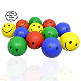 """Stress Balls with Happy Face 12 Pcs   2.5"""" Inch Colorful Balls with Smile   Therapy Squeeze Balls Smiling   Party Stress Balls with Smiling Face  Goodie Bag Balls   By Anapoliz"""