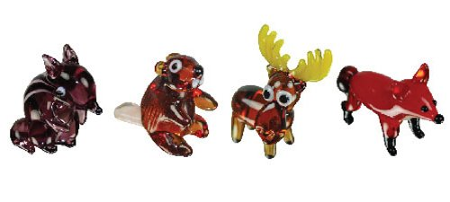 Looking Glass Forest Animals Miniature Collectible, Pack of 4