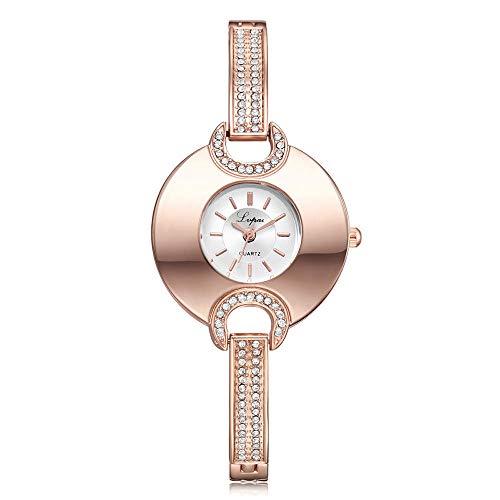Powzz - Reloj inteligente con diseño de diamante, cuarzo y pulsera de color rosa y dorado