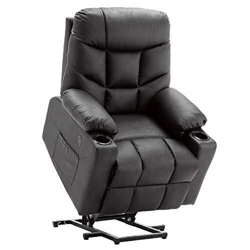 Mcombo 7288BK - Sillón de relax eléctrico (2 USB, piel sintética), color negro