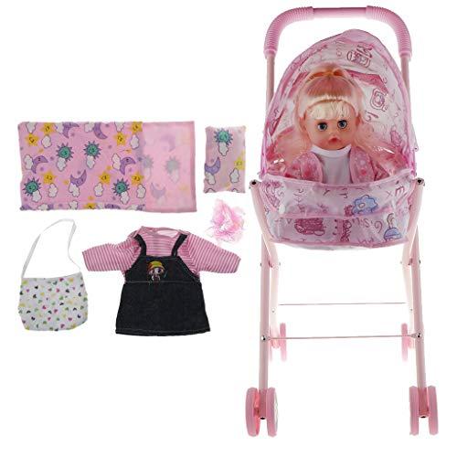 Hellery Muebles para Muñecas Juguetes Muñeca Reborn con Suministros Y Cochecito de Bebé Carro de Bebé
