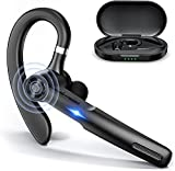 Bluetooth Headset,JOYHOOSH Bluetooth Earpiece with MIC, Trucker Bluetooth Headset 50Hrs with Charging Case, in-Ear Headphones Wireless Earphones for Business,Office and Driving,Noise Cancelling