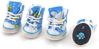 eDealMax 2 Pares del patrón Azul de la Flor Blanca del gato Zapatos de Nylon perro