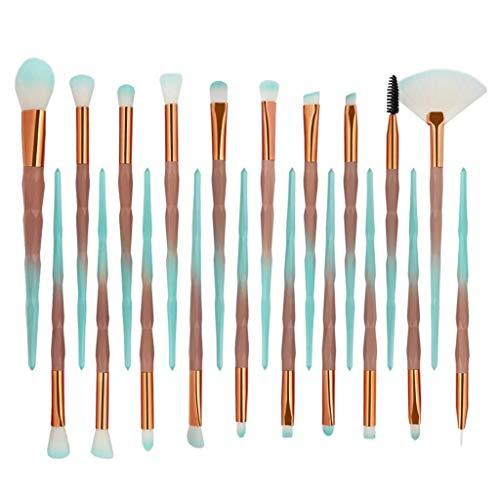 SDENSHI 20pcs Licorne Eye Brush Set Blending Pli Kit Maquillage Pinceaux à Sourcils - Café vert dégradé diamant