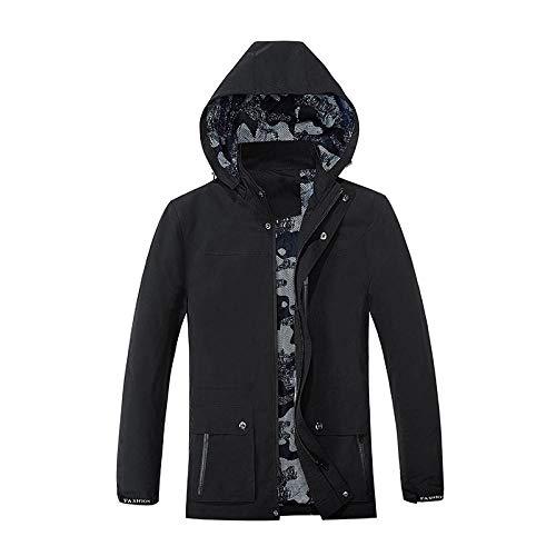 Men's Outdoor Jacket Winter Coat With Men's Slim Jacket Washed Hood-Black_4XL