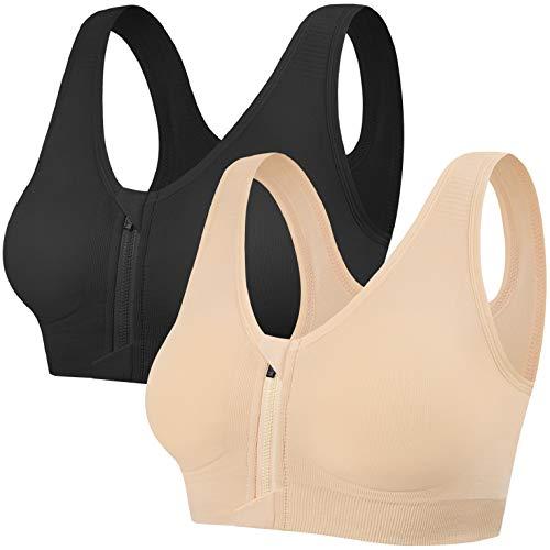 UMIPUBO - Sujetador deportivo para mujer, con cremallera y push up bras, ropa interior de deporte, almohadillas extraíbles para fitness, yoga, carreras Peau et Noir XXL