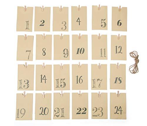 Small Foot Calendario Dell'Avvento Sacchettini, Cartone, Marrone, 10.00x7.00x16.00 cm