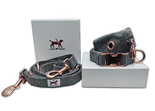 Liebes-Flausch Hundeleine + Hundehalsband im Set | Elegant - Klassisch (28-40cm)