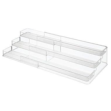 InterDesign 64140 Linus Expandable Multi-Level Spice Rack, Kitchen Cabinet Organizer - Clear