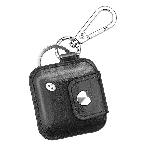 Fintie Case for Tile Mate/Tile Pro/Tile Sport/Tile Style/Cube Pro Key Finder, Vegan Leather Protective Cover for 2020 2018 and All Generations Tile, Black