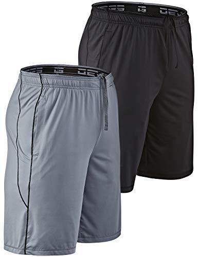 """DEVOPS Men's 2-Pack Loose-Fit 10"""" Workout Gym Shorts with Pockets (Large, Black/Steel)"""