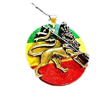 LION OF JUDAH, Löwe von Juda mit 69 cm schwarzer Kette, Messingform auf glasierter Scheibe Rastafari Zion Löwe 39 mm hoch, Messinganhänger auf glasierter Rastascheibe, neu mit Etikett Hi Qualität, Mad