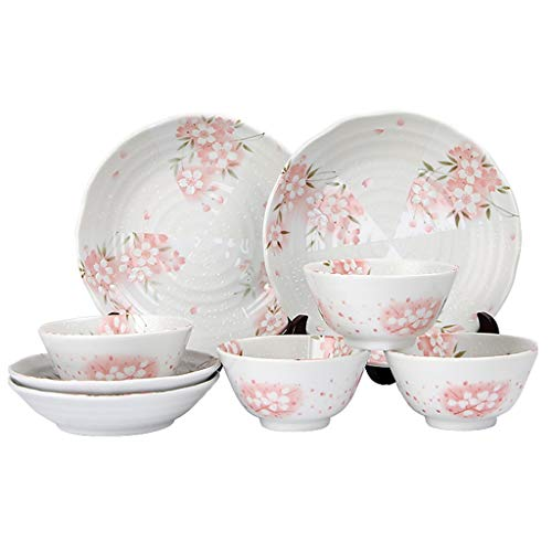 ZLDGYG 10-piece Set of Ceramic Dishes and Plates, Simple and Personalized Tableware for Household Combination