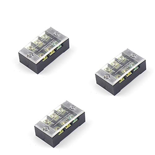 Dual Row Strip 3 pcs 3 Position 6 Screw Terminal Block 25A 600V Fixed Wiring Board wire connector (TB-2503 3P)