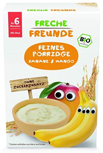 Freche Freunde Bio Feines Porridge Banane & Mango, Getreidebrei mit Obst für Babys ab 6 Monaten, glutenfrei, vegan, 180 g