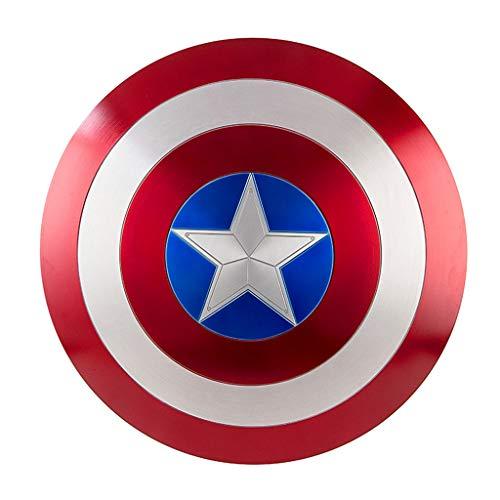QWEASZER Capitán América Escudo Redondo metálico Marvel Avengers 1: 1 Capitán América Escudo Metal Shield Apoyos de película para Adultos,Captain America Metal Round Shield-60cm