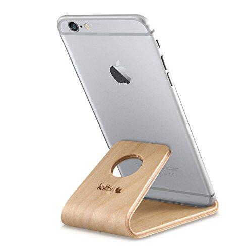 kalibri Support de téléphone Portable - Stand Universel pour Smartphone et Tablette Compatible avec iPhone Samsung Galaxy Huawei - Bois de Bouleau
