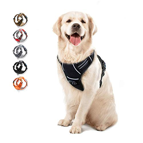 WALKTOFINE Dog Harness No Pull Reflective, Comfortable Harness with Handle,Fully Adjustable Pet Leash Vest for Small Medium Large Dog Breed Car Seat Harness Black L