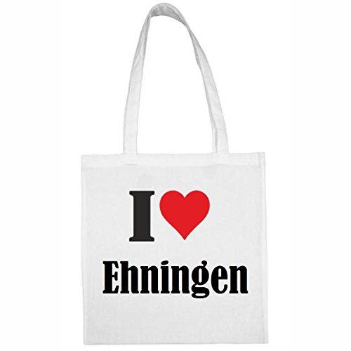 Tasche I Love Ehningen Größe 38x42 Farbe Weiss Druck Schwarz