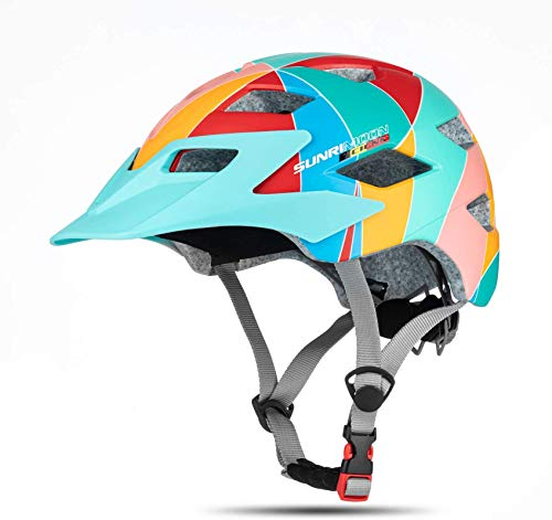 MOKFIRE Kids Helmet -Boys Girls Bike Helmet with Removable Visor Large Vents and LED Rear Lights, Children Helmet Adjustable for Cycling Skating Scooter 54-57cm (Ages 5-13)