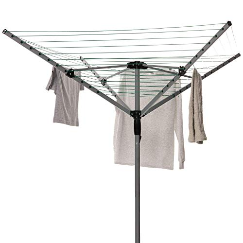 Home Treats Rotary Airer Clothes Line With 4 Arms For Drying Washing Outdoors | Heavy Duty | Washing Line With Free Ground Spike and Cover (40m) thumbnail image