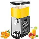 VEVOR Máquina de Dispensador de Bebida 18 L, Máquina de Bebidas Frío con Tanques 18 L * 1, Máquina de Dispensador de Jugo 200 W, Máquina de Bebidas Frías de Acero Inoxidable Temperatura 7-12℃