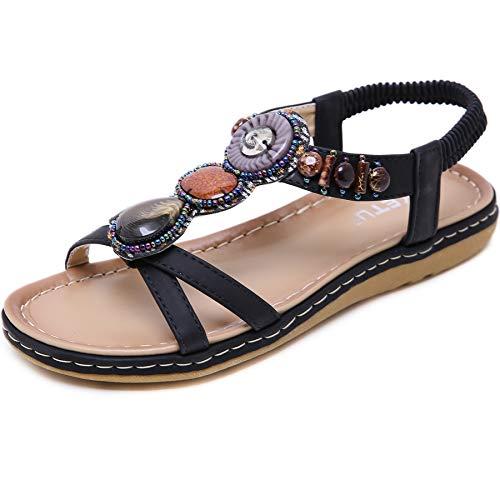 GAXmi Sandali donna eleganti gioiello strass scarpe piatte spiaggia nero 38 EU
