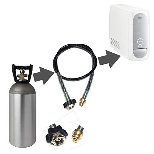 Adaptateur de tuyau haute pression de 1 m pour bouteilles de CO2 plus grandes - Convient pour les machines à gazéifier Grohe Blue Home