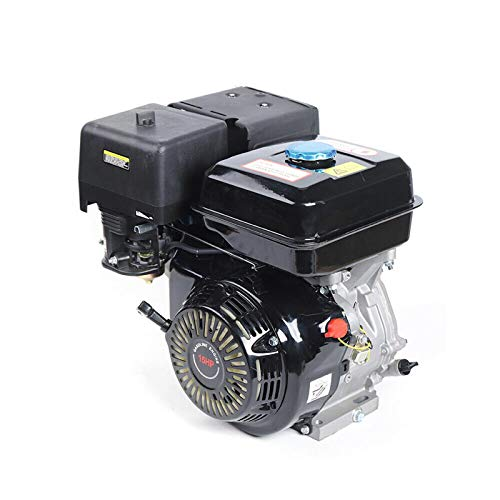 Gas Engine Motor 420CC 15HP Horizontal Gas Petrol Engine, 4 Stroke OHV Single Cylinder Gasoline Motor, Recoil Starter Pull Start Low Fuel Consumption Forced Air Cooling Engine (Black)